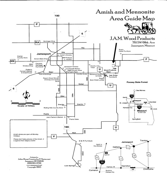 Amish Stores Map- Jamesport